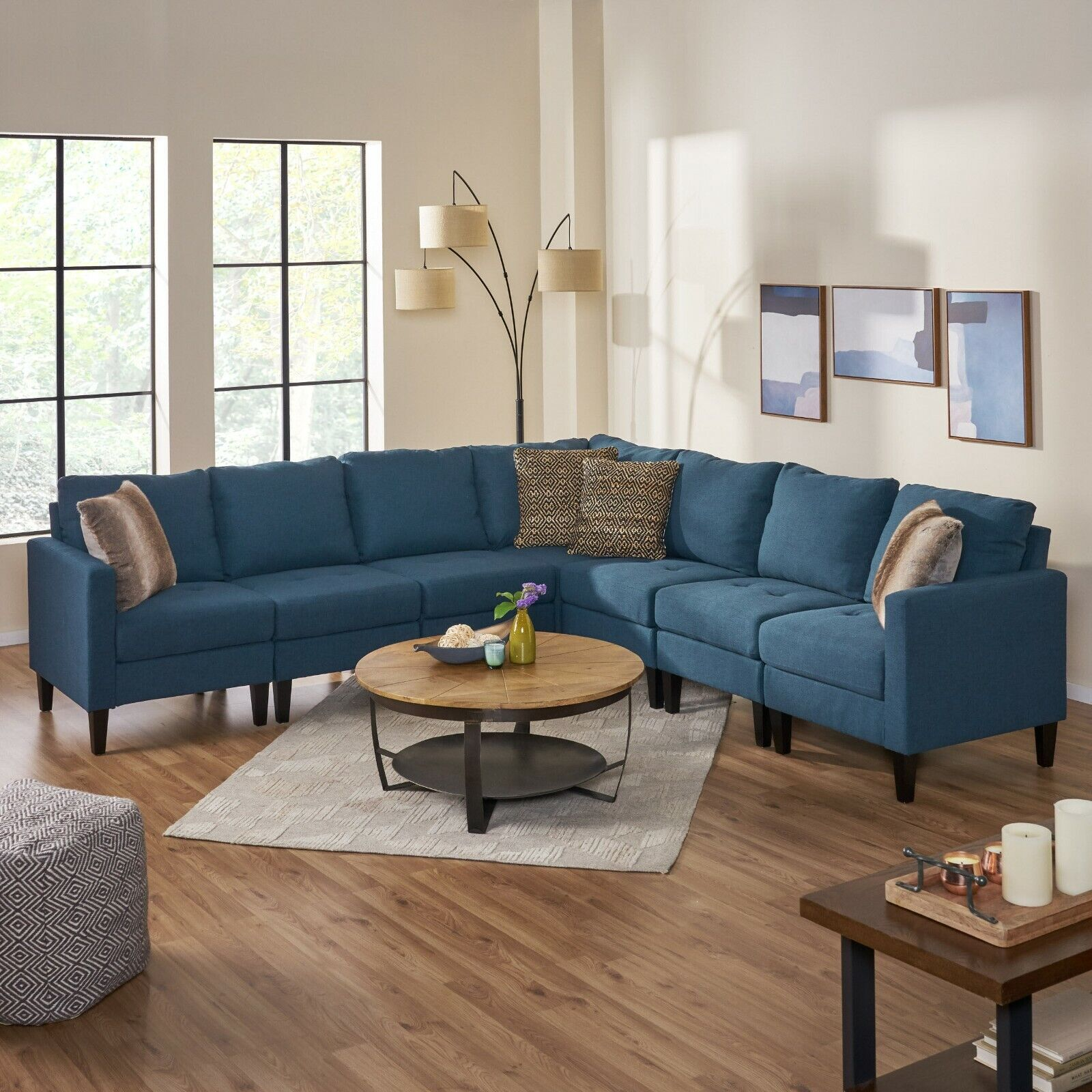 Carolina Contemporary 7 Piece Fabric Sectional Sofa with Button Tufted Seating Furniture
