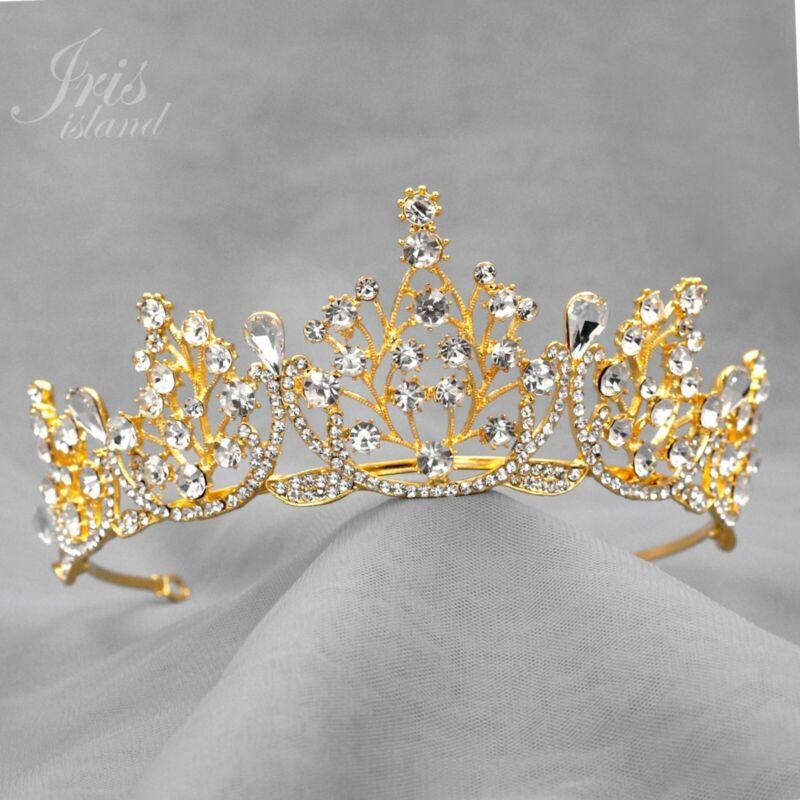 Wedding Austrian Crystal Rhinestone Tiara Crown Bridal Party Pageant 07371 Gold