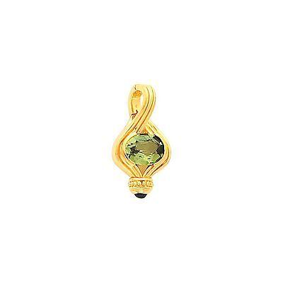 - 14 KT Yellow Gold& Peridot & Cabochon Amethyst Omega Enhancer Pendant Slide NEW
