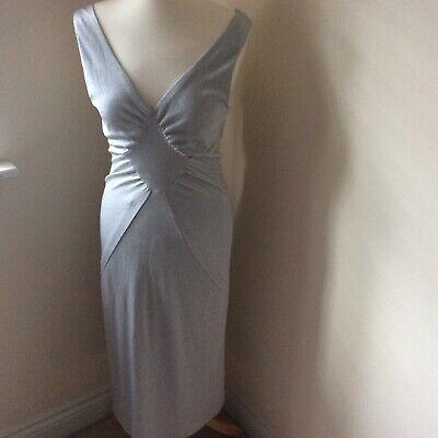 Stunning designer Karen Millen dress silver 12 glitter effect sexy low back eve