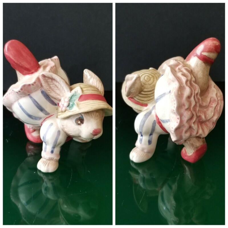 Vintage FF J Fitz & Floyd Blue Fashion Baby Bunny Rabbit Tumbling Figurine