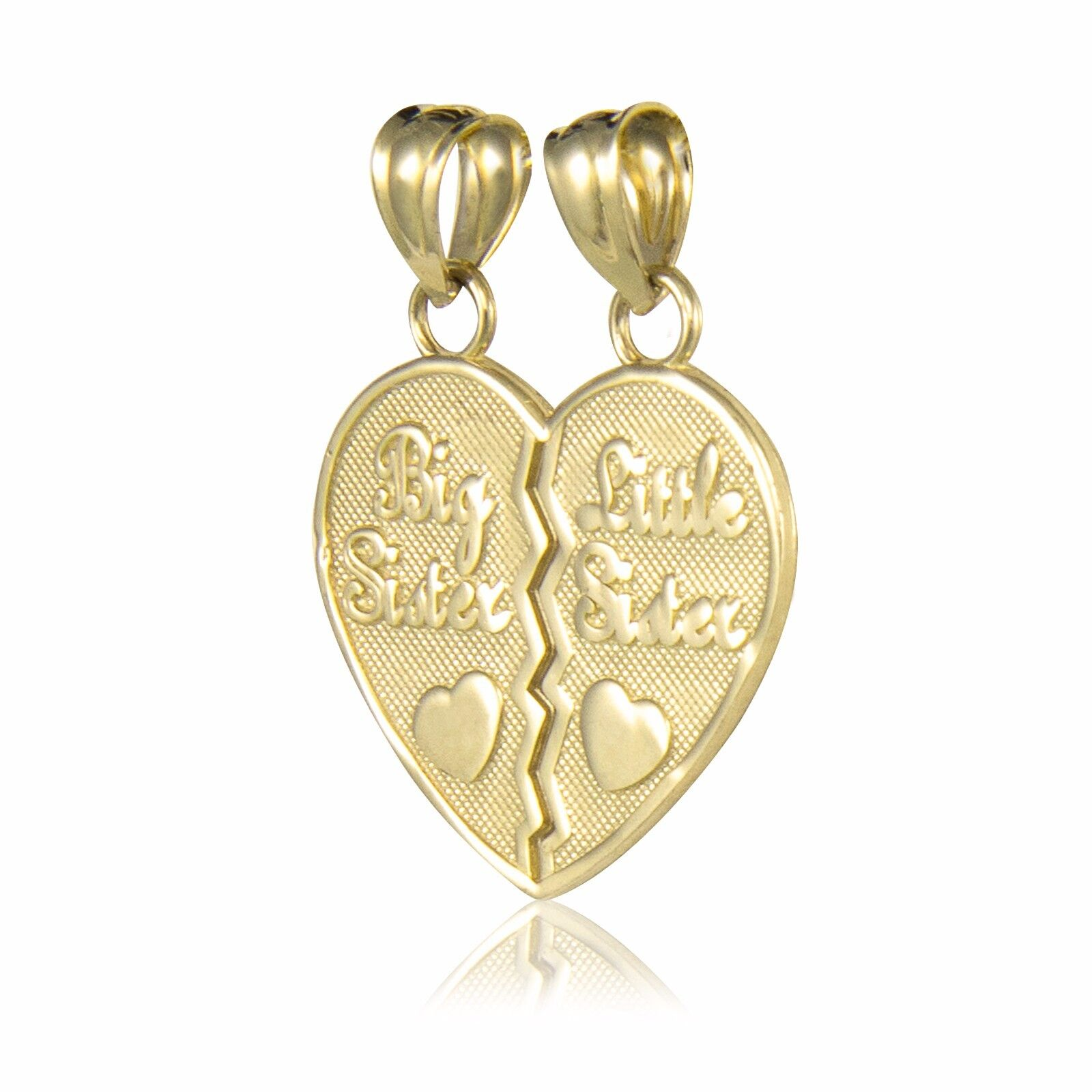 14k solid yellow gold big little sister half heart pendant love 14k solid yellow gold big little sister half heart pendant love necklace charm aloadofball Choice Image