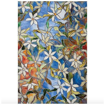 New BLUE FLORAL Privacy Stained Glass Decorative Window Film