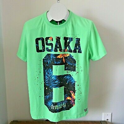 Superdry Osaka 6 Collection T Shirt green big logo cotton Size XL