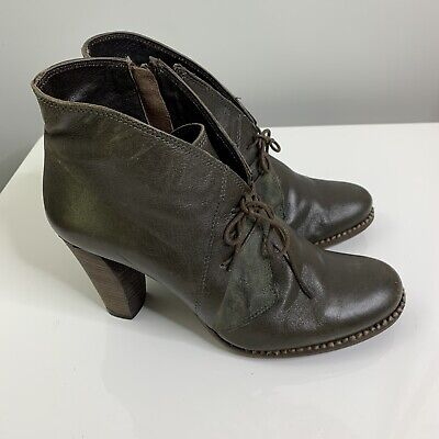 Khrio Size 40 Green Leather Ladies Ankle boots Military Lace Up Round Toe #68