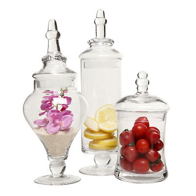 Clear Glass Apothecary Jars (3 Piece Set) Decorative Weddings Candy Buffet](Buffet Jars)