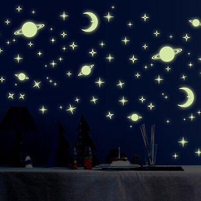 Glow In The Dark Wall Stickers Space Stars and Planets Luminous Removable