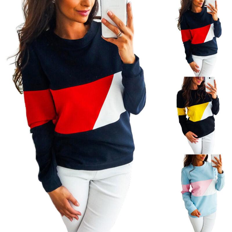 Damen Pullover Langarm Shirts Sweatshirt Pulli Freitzeit Bluse Hemd Oberteile 40