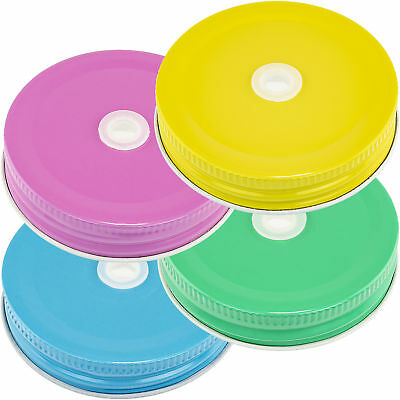 Mason Jar Lids With Holes (Multicolor Pastel Mason Jar Lids w/Hole for Straws Set of 4 Lids With Straw)