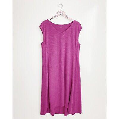 EILEEN FISHER L Large Hemp & Organic Cotton Twist Dress! Fuchsia Cap Sleeve