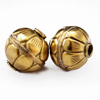 Solid Brass Repousse 2 Beads Tibetan Nepalese Handmade Tibet Nepal UB2501