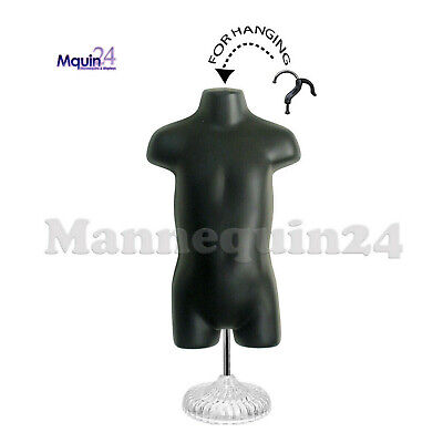 Child Torso Mannequin - Black With Stand - Kids Plastic Dress Form