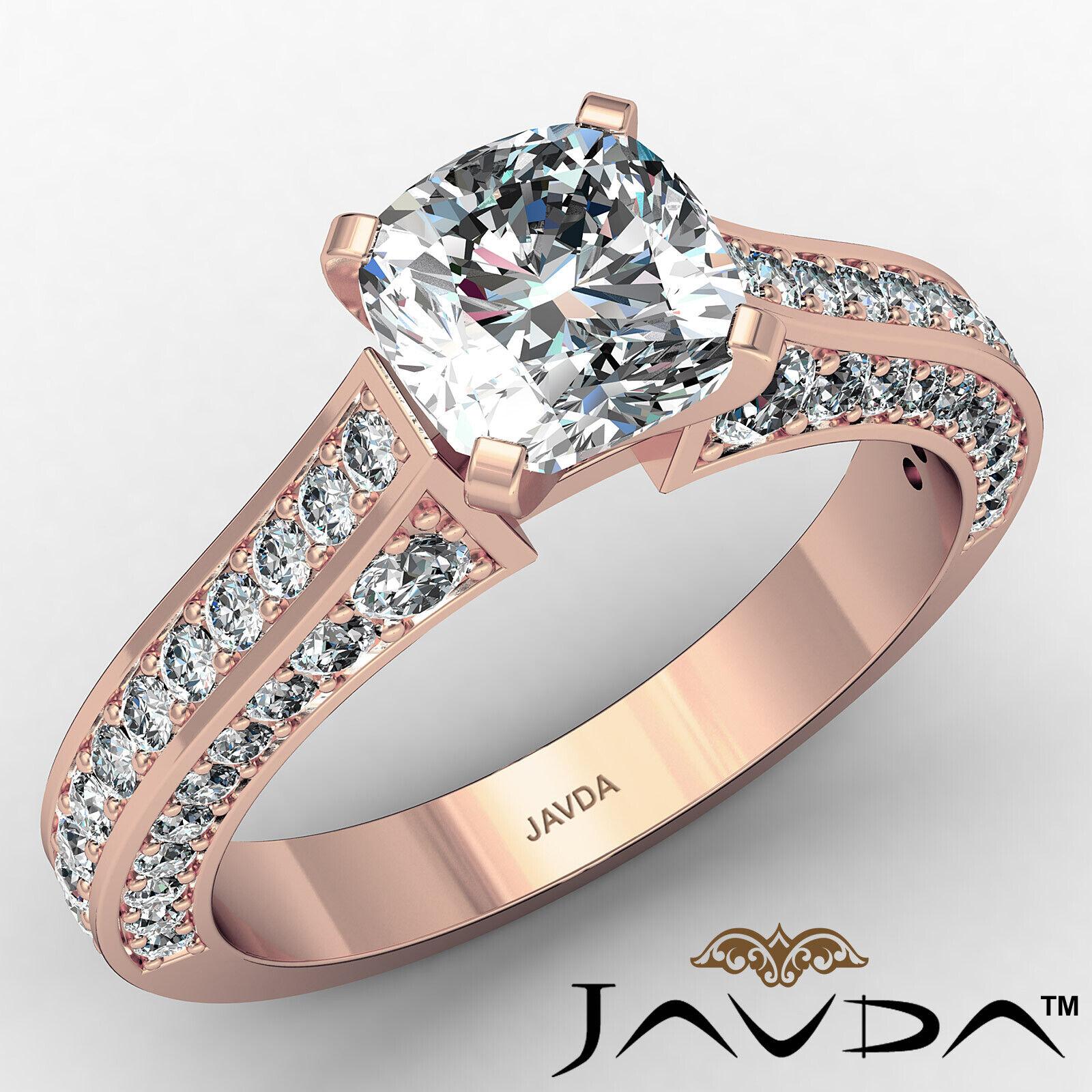 Cushion Diamond Engagement Pave Set Ring GIA J Color & VS2 clarity 1.82ctw 2