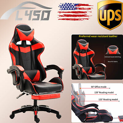 Leather Gaming Chair Wfootrest Swivel Racing Computer Lumbar Massage Chairs Set