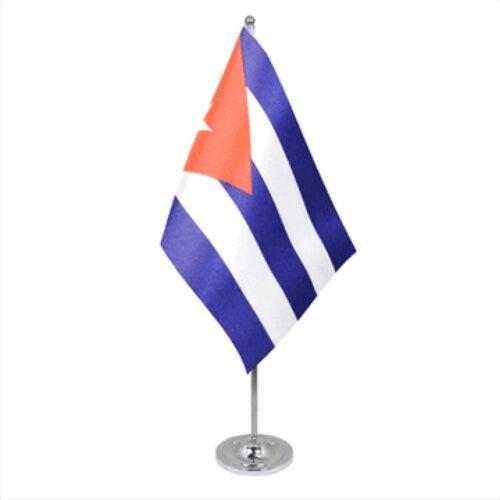 Cuba Satin & Chrome Premium Table Flag