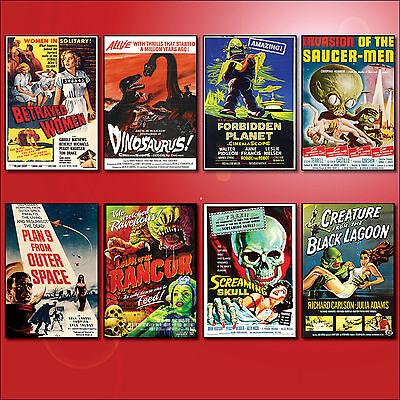 Classic B Movie Film Poster Fridge Magnets Set of 8 large fridge magnets No.2