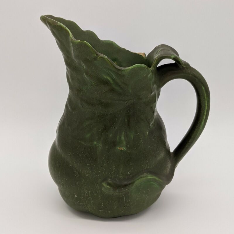 Antique Hampshire Pottery Arts And Crafts Green Pitcher