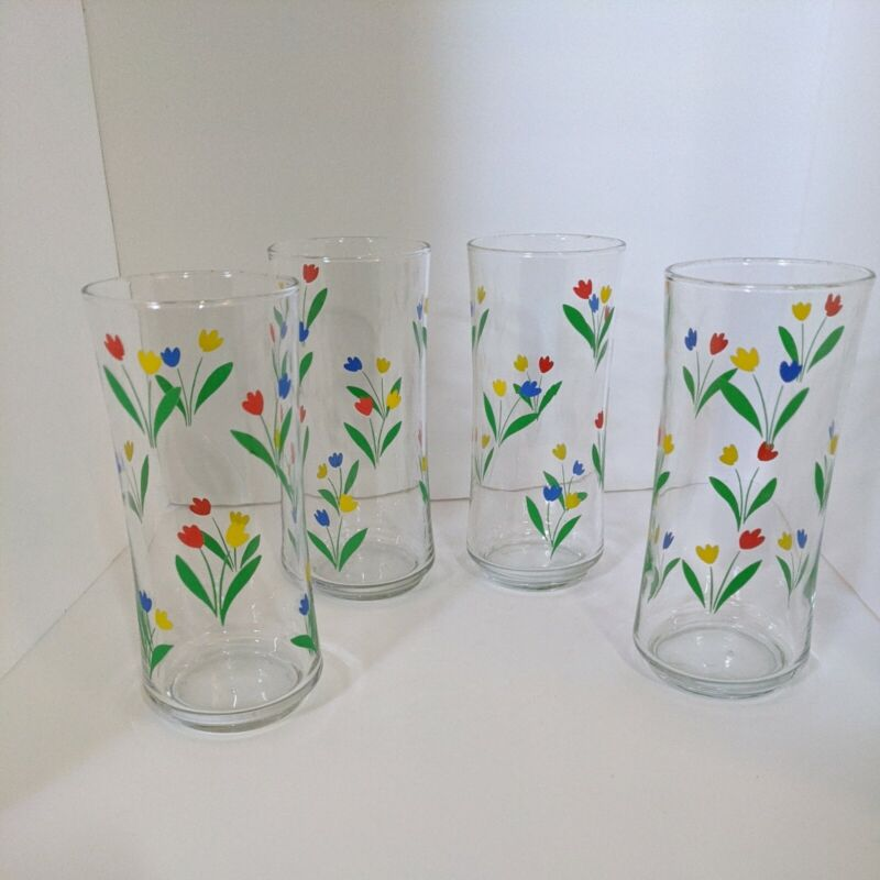 """4 Vintage Libbey Red Blue Yellow Tulip Glasses Tumblers 6.5"""" Tall"""