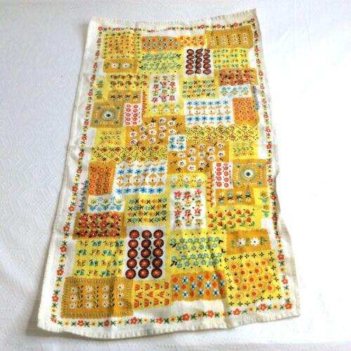 Vintage Mid Century Multicolor Floral Garden Printed Tea Towel
