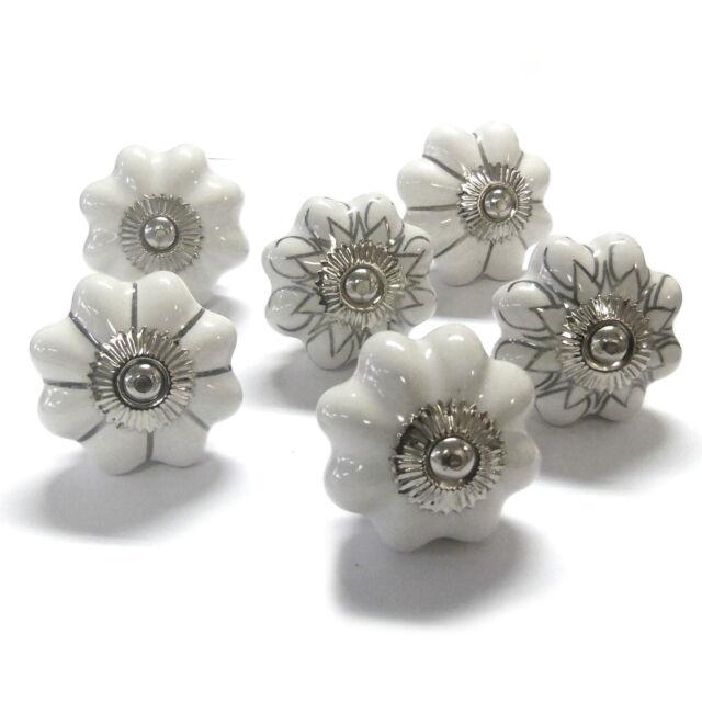 Set of 6 Mushroom Shape White and Silver Ceramic Cupboard Door Knobs PKS18