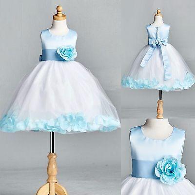 Baby Blue Flower Girl Dresses (NEW Baby Blue Rose Petal Tulle Dress Flower Girl Bridesmaid Holiday Pastel #022)