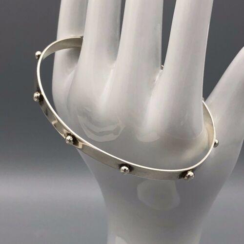Mens Artisan Handmade Studded Sterling Silver Bracelet