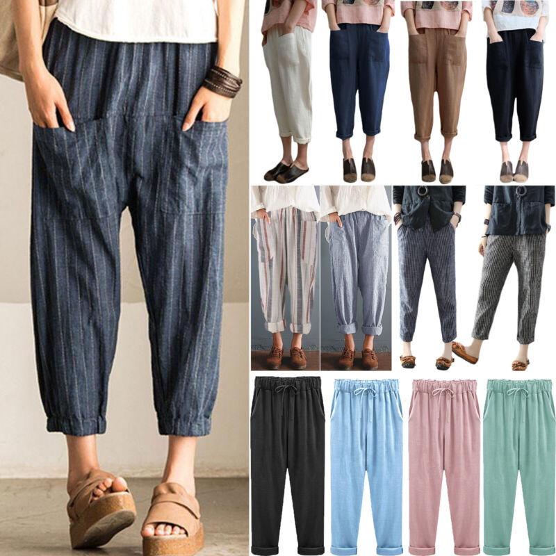 Women Cotton Linen Casual Harem Pants Elastic Waist Pockets