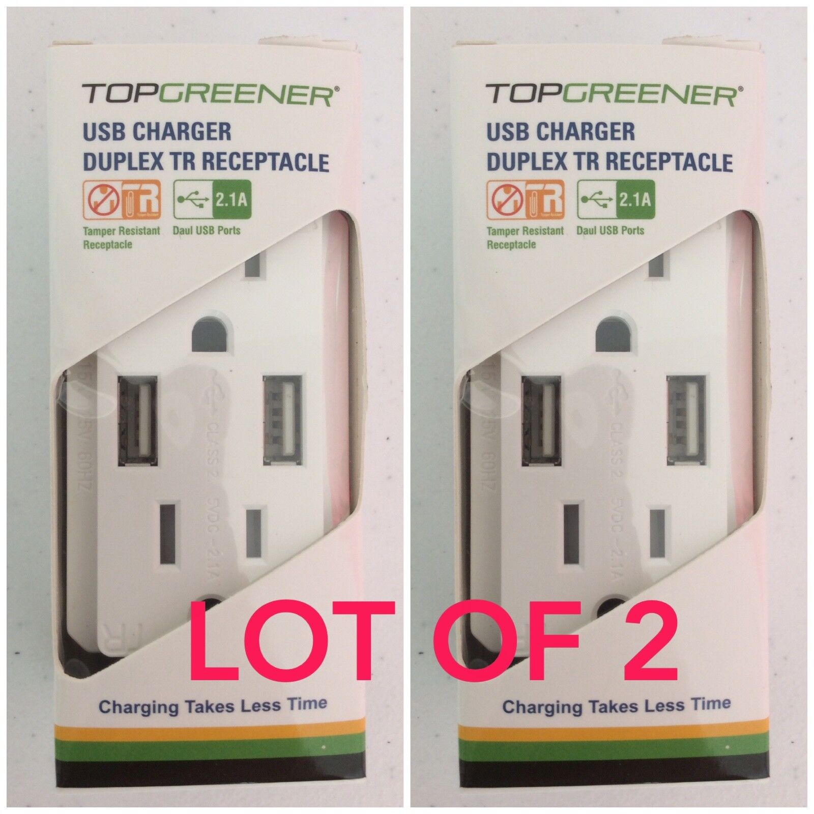 Top Greener TU2152A-W Dual USB Outlet/Outlet with USB ports,