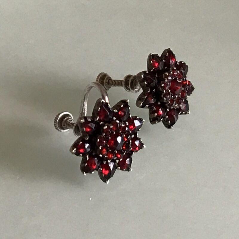 Edwardian Rose Cut Bohemian Garnet Sterling Silver 925 Screwback Earrings