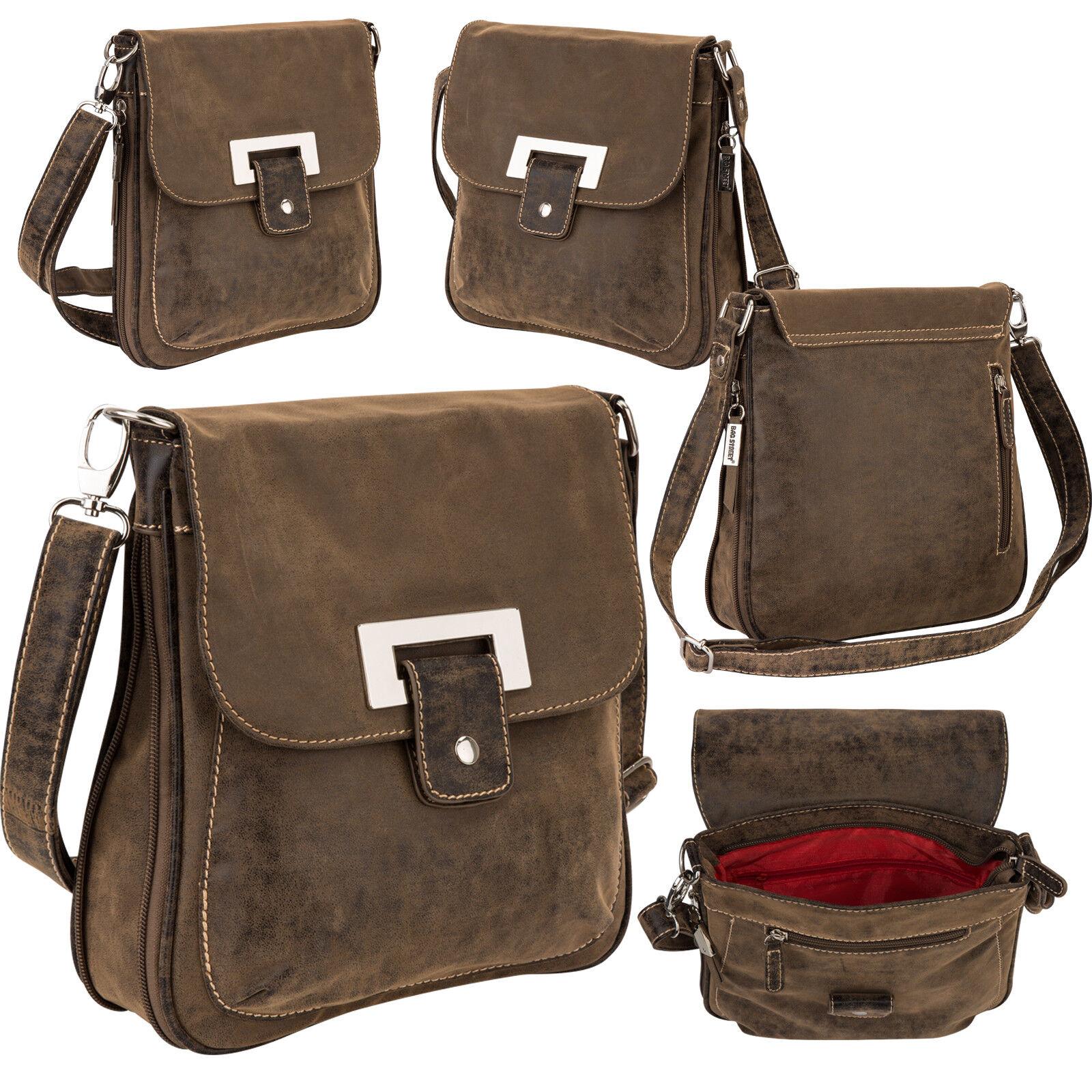 Bag Street Damentasche Umhängetasche Handtasche Schultertasche K2 T0135 Antikbraun