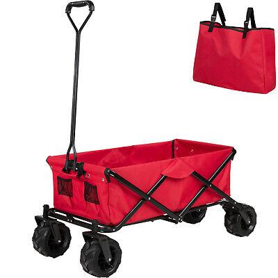 Carro de Mano Plegable para Utensilios Jardín Carretilla de Transporte Rojo