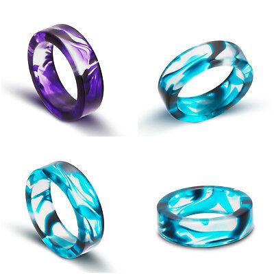 Resin Ring Purple Blue Ink Waves Unisex Vampire Gift Idea