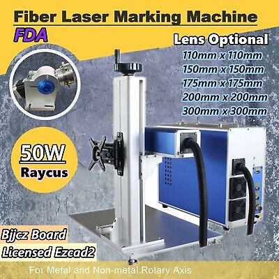 50w Split Fiber Laser Marking Engraving Machine With Rotary Axis Raycus Laser