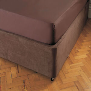 Divan bed base cover wrap valance in chocolate single for Divan valance sheet