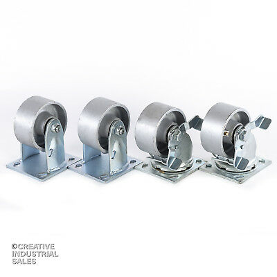4 X 2 Swivel Casters Steel Wheel W Brake 2 Rigid 2 700lb Ea Tool Box