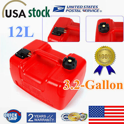 12L  3.2 Gallon  Portable Outboard Boat Marine Fuel Gas Tank With Connector ()
