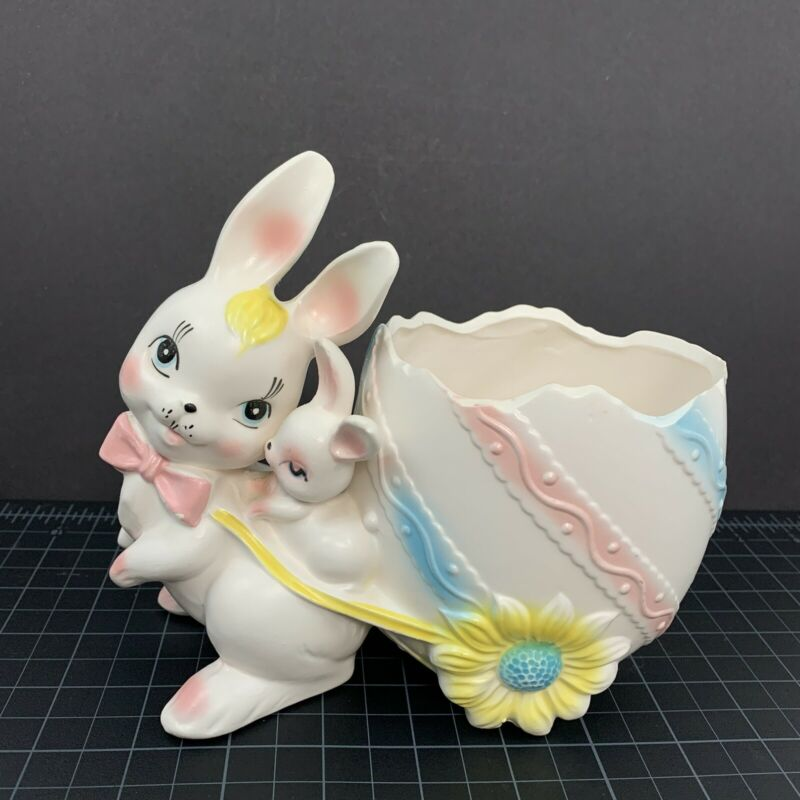 Vintage Easter Planter RELPO Mom Baby Bunny Egg Cart 5695 Japan 1950s Rabbits