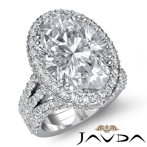 3 Row Shank Bezel Oval Cut Diamond Engagement Double Prong Ring GIA I VS2 3.65Ct