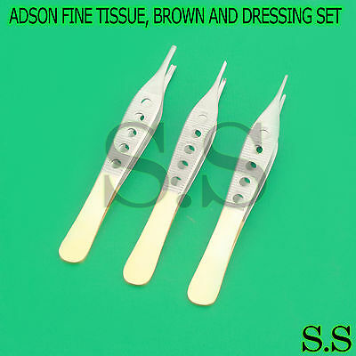 3 Pcs Adson Fine Tissue Brown And Dressing W Fenestrated Gold Handle