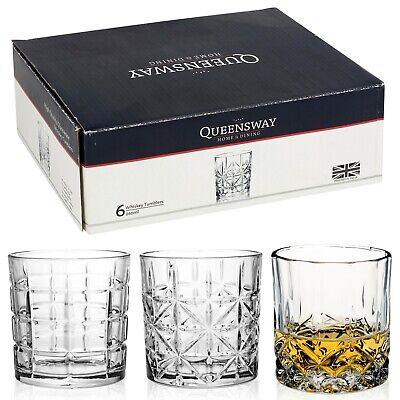 Queensway 6 Stück Whiskey Gläser Brillen Geschenkbox Set 3 Designs Hochzeit Old Fashioned Gläser
