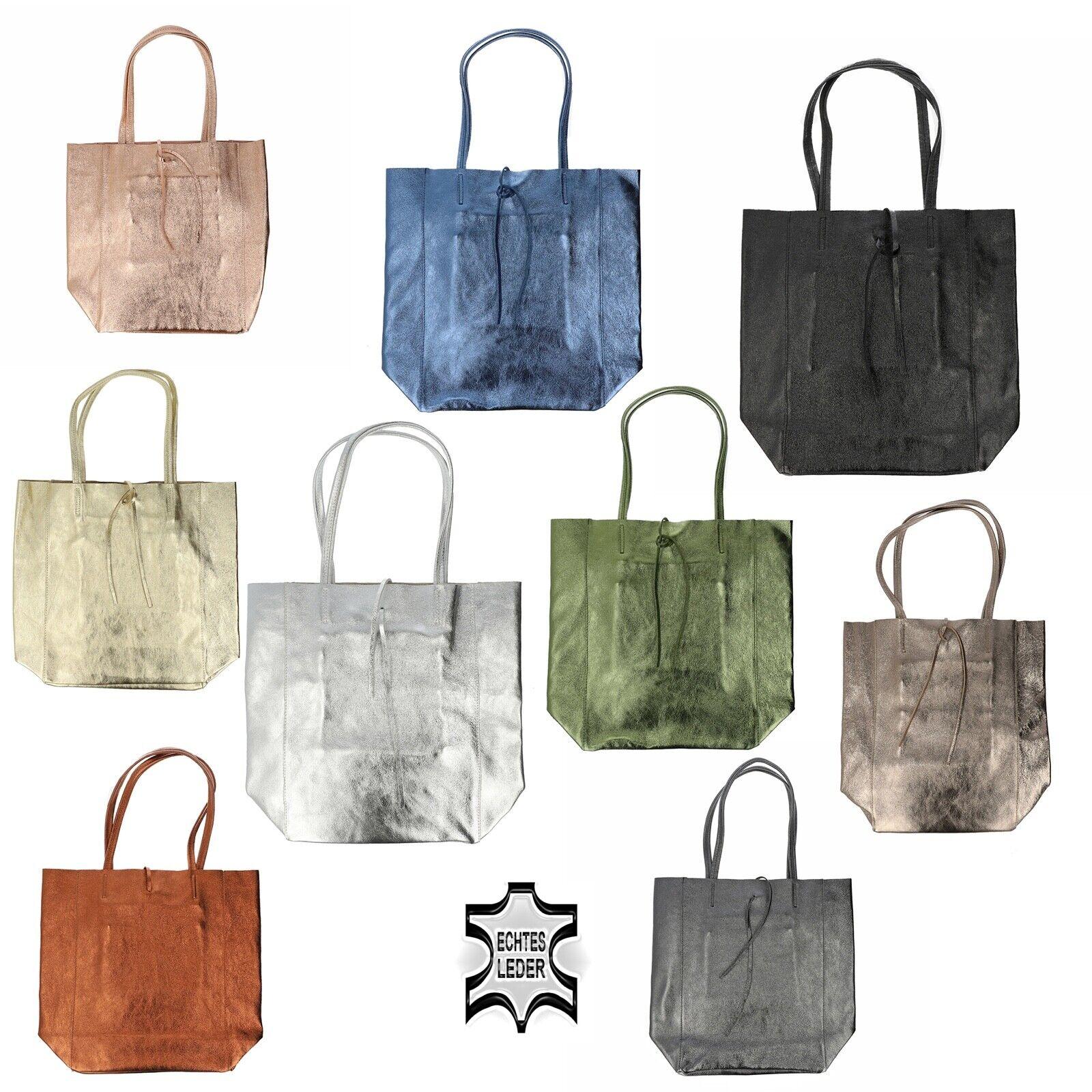 Metallisch Shopper Schulter Hand Tasche Italy WildelederPelle A4 Metallic NEU