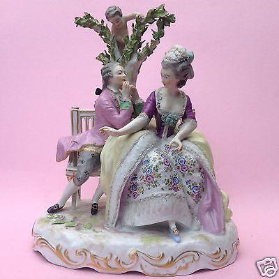 Porzellanfigur Rokoko-Paar Kavalier Mädchen Amor Thüringen Schwerter Marke ~1860
