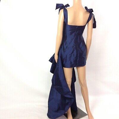 Leal Daccarett Women's Ruffled Mini Dress Navy Blue Formal Prom Sz 4 Tie Sleeve