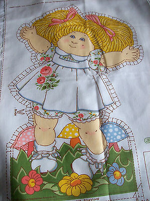 VINTAGE BLONDE CABBAGE PATCH DOLL FABRIC PILLOW PANEL 1 DOLL  FRONT AND BACK for sale  Shipping to India