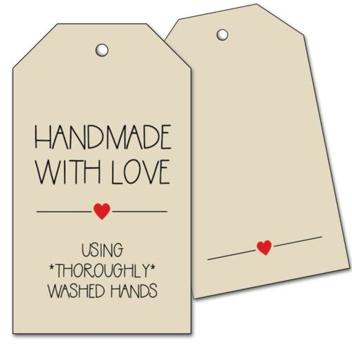 25 Hang Tags - Handmade with Love - Washed Hands - Craft, Sewing, Food Gift Tags