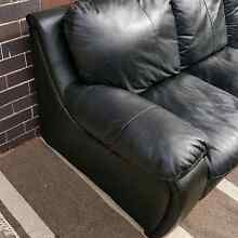 Black Leather Three Seater Lounge Couch Sofa & Matching Armchair Coogee Eastern Suburbs Preview
