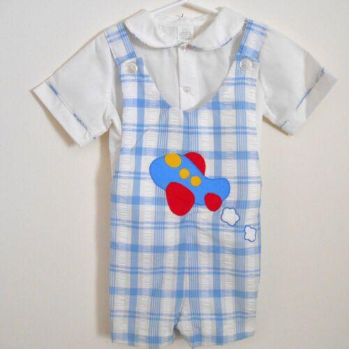 VINTAGE Toddler Boy Shortall Outfit Shirt Overalls Size 4T Blue Plaid Plane VGUC