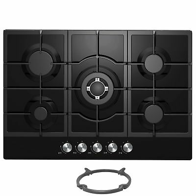 Cookology GGH755BK | 75cm Built-in 5 Burner Black Gas-on-Glass Hob & Wok Stand