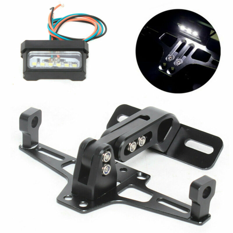 Black Stainless Steel LED Tail Light Universal Motorcycle License Plate Frame