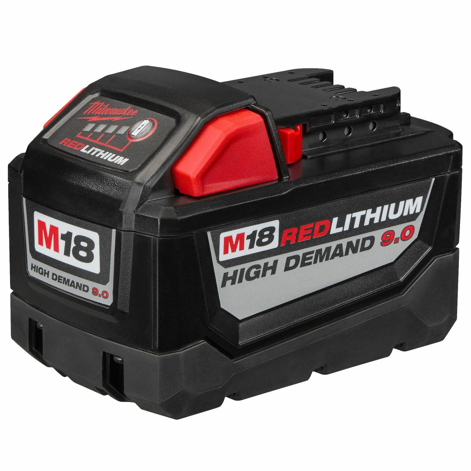 New Milwaukee 48-11-1890 M18 18V 18 Volt Red Lithium High Demand 9.0 Ah Battery 4